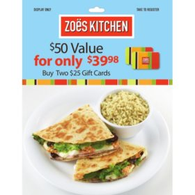 Zoes Kitchen $50 Value Gift Cards - 2 x $25