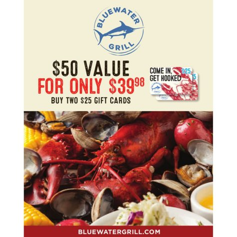 Bluewater Grill $50 Value Gift Cards - 2 x $25