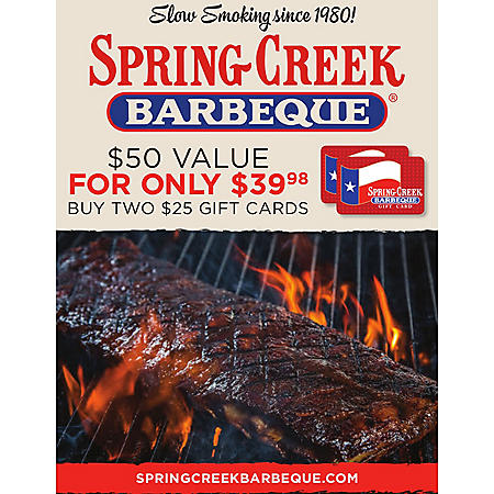Spring Creek BBQ $50 Value Gift Cards - 2 x $25