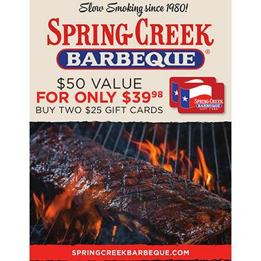 Spring Creek Bbq 50 Value Gift Cards 2 X 25 Sam S Club