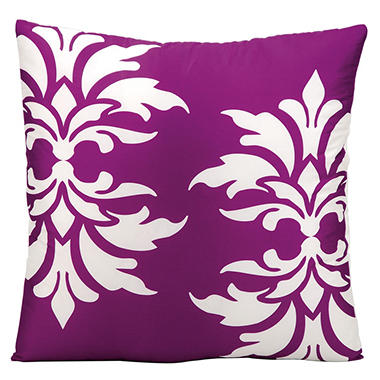 Mina Victory Damask Lilac Outdoor Throw Pillow