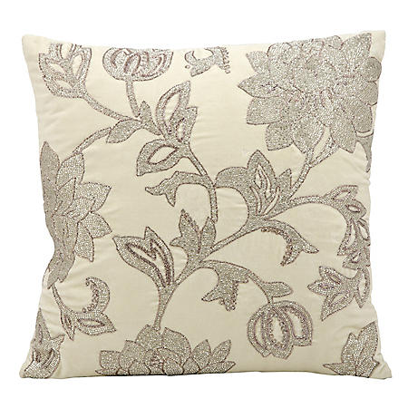 """Ivory Silver Flowers 18"""" x 18"""" Decorative Pillow By Nourison"""