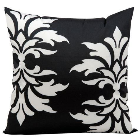 Mina Victory Damask Black Outdoor Throw Pillow