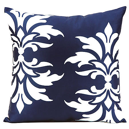 Mina Victory Damask Navy Outdoor Throw Pillow