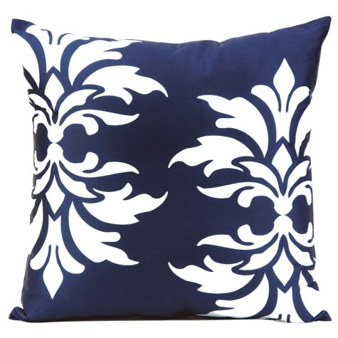 Mina Victory Damask Navy Outdoor Throw Pillow