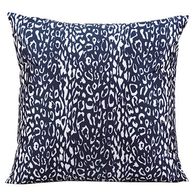 Mina Victory Leopard Navy Outdoor Throw Pillow
