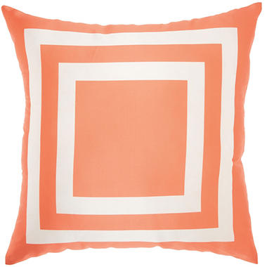 Mina Victory Squares Orange Outdoor Throw Pillow