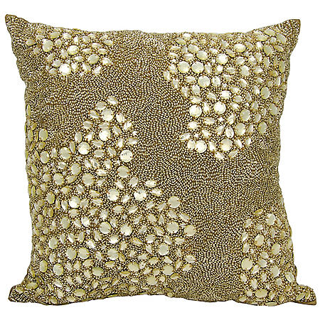 "Light Gold Fully Beaded 16"" x 16"" Decorative Pillow By Nourison"