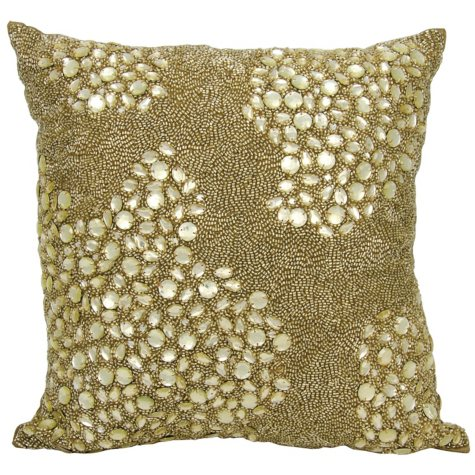"""Light Gold Fully Beaded 16"""" x 16"""" Decorative Pillow By Nourison"""