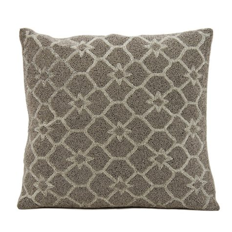 "Silver Grey Beaded Stars 16"" x 16"" Decorative Pillow By Nourison"