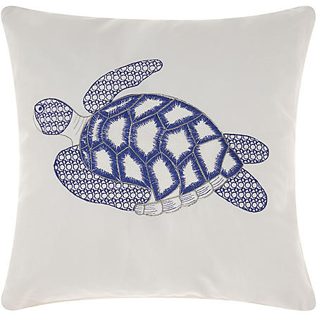 Mina Victory Sea Turtle White Outdoor Throw Pillow