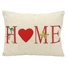 Mina Victory Home For The Holiday Holiday Home Natural Throw Pillow
