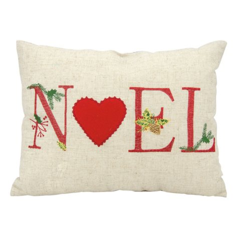 Mina Victory Home For The Holiday Holiday Noel Natural Throw Pillow
