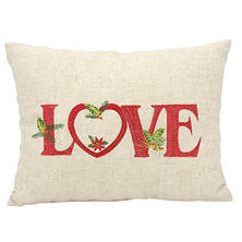 Mina Victory Home For The Holiday Holiday Love Natural Throw Pillow