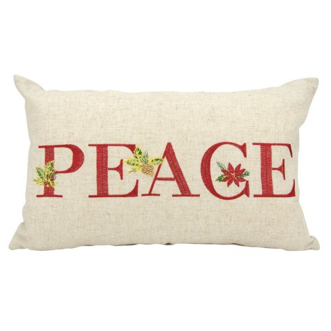 Mina Victory Home For The Holiday Holiday Peace Natural Throw Pillow