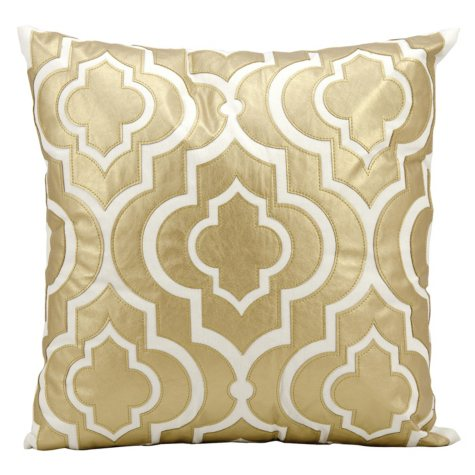 "Gold Laser Cut Lantern 20"" x 20"" Decorative Pillow By Nourison"