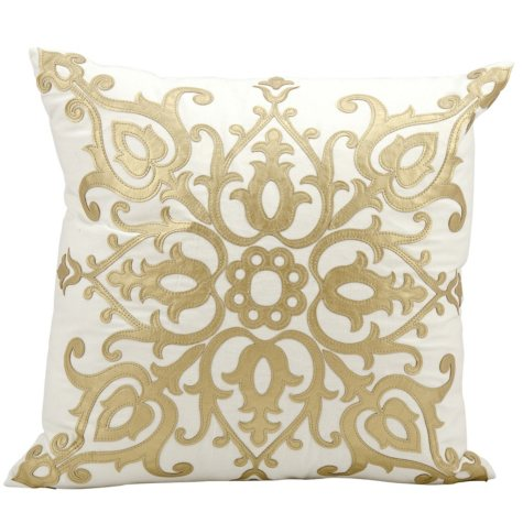 "Gold Laser Cut Royalty 20"" x 20"" Decorative Pillow By Nourison"