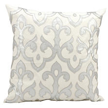 "Silver Laser Cut Fleur delis 20"" x 20"" Decorative Pillow By Nourison"
