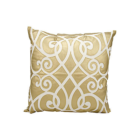 "Gold Laser Cut Infinity 20"" x 20"" Decorative Pillow By Nourison"
