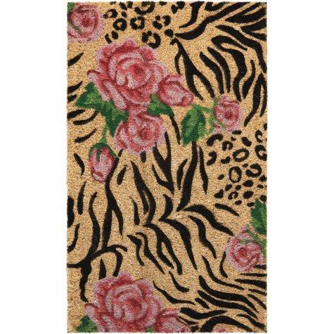 Mina Victory Animal Print Roses Beige Black Outdoor Doormat