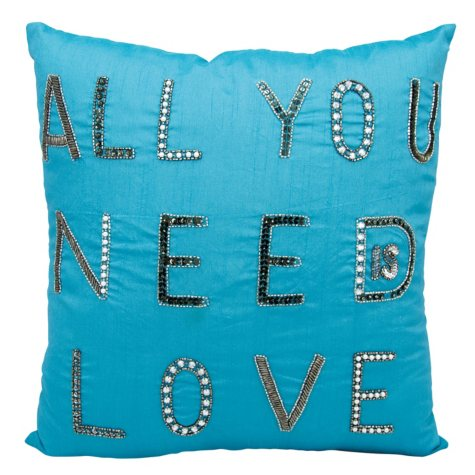 "Turquoise All You Need Is Love 18"" x 18"" Decorative Pillow By Nourison"