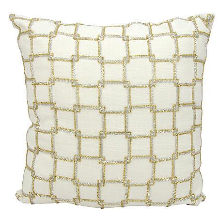 "White Interlock Squares 18"" x 18"" Decorative Pillow By Nourison"