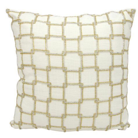 "White Interlock Squares 18"" x 18"" Decorative Pillow By Nourison"
