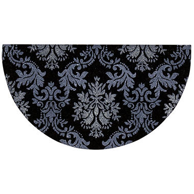 Mina Victory Glitter Damask Black/Silver Outdoor Doormat