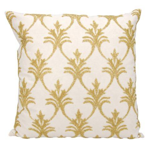"""Light Gold Silver Fleur De Lis' 18"""" x 18"""" Decorative Pillow By Nourison"""