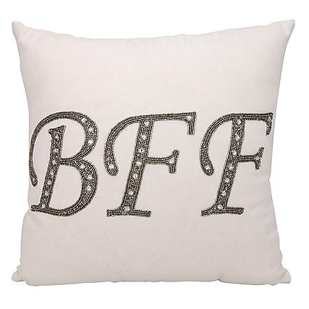 "White Beaded Bff 12"" x 18"" Decorative Pillow By Nourison"