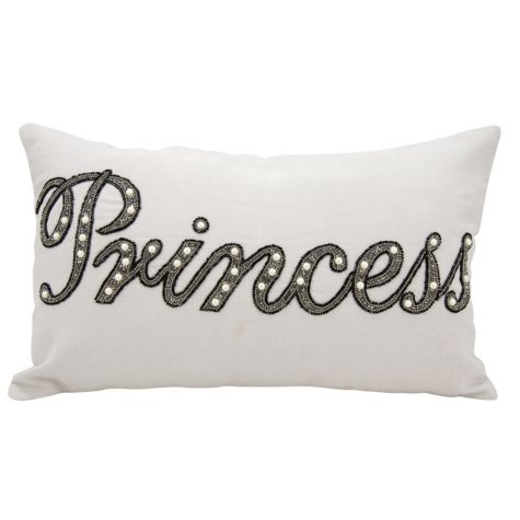 "Silver Grey Beaded Princess 12"" x 20"" Decorative Pillow By Nourison"