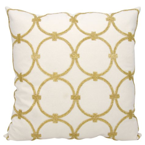 "Light Gold Circles 20"" x 20"" Decorative Pillow By Nourison"