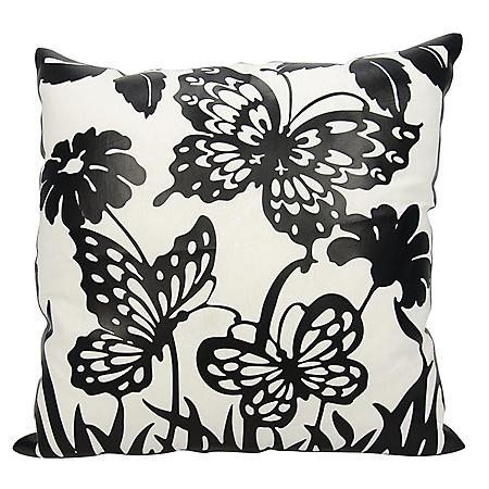 "Black Butterfly Garden 20"" x 20"" Decorative Pillow By Nourison"