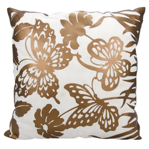 "Copper Butterfly Garden 20"" x 20"" Decorative Pillow By Nourison"
