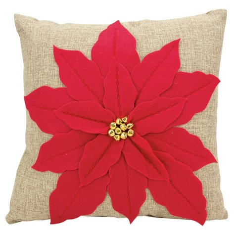 Mina Victory Home For The Holiday Pointsettia Red Throw Pillow