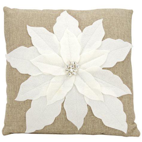 Mina Victory Home For The Holiday Pointsettia White Throw Pillow