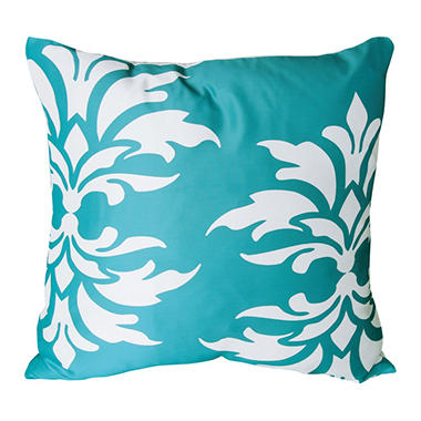 Mina Victory Damask Turquoise Outdoor Throw Pillow