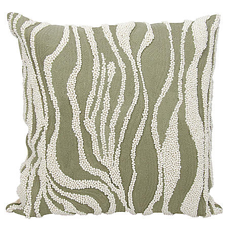 "Grey Beaded Zebra 18"" x 18"" Decorative Pillow By Nourison"