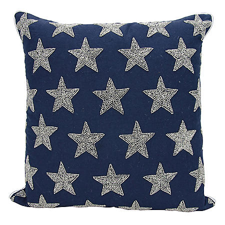 "Navy/Silver Beaded Stars 20"" x 20"" Decorative Pillow By Nourison"