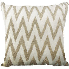 "Silver Beaded Chevron 18"" x 18"" Decorative Pillow By Nourison"