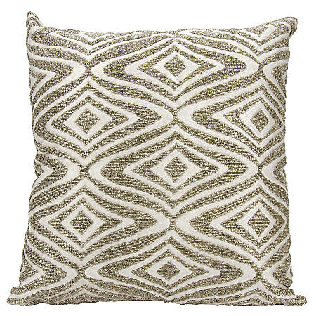 "Silver Beaded Waves 18"" x 18"" Decorative Pillow By Nourison"