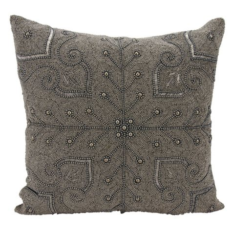 "Pewter Persian Scroll 18"" x 18"" Decorative Pillow By Nourison"