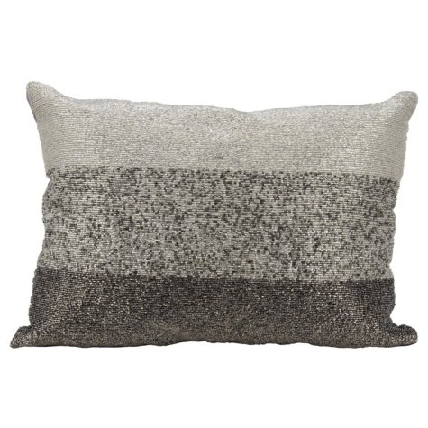 """Pewter Beaded Gradiation 14"""" x 20"""" Decorative Pillow By Nourison"""