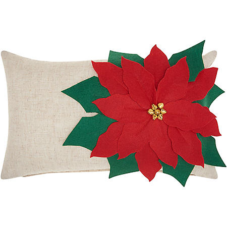 Mina Victory Home For The Holiday Pointsettia Natural Throw Pillow