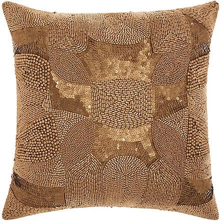 """Light Gold Antique Beading 18"""" x 18"""" Decorative Pillow By Nourison"""