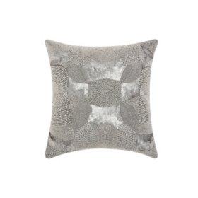 """Platinum Antique Beading 18"""" x 18"""" Decorative Pillow By Nourison"""