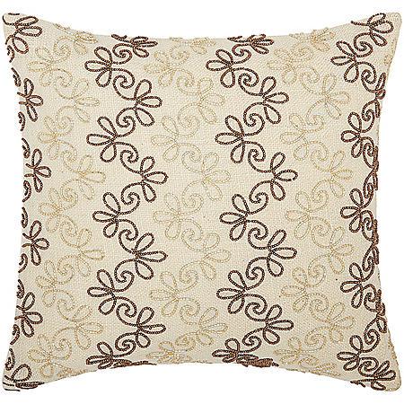 """Copper/Gold Flower Stripes 16"""" x 16"""" Decorative Pillow By Nourison"""