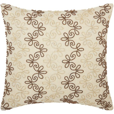 "Copper/Gold Flower Stripes 16"" x 16"" Decorative Pillow By Nourison"