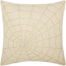 "Gold Beaded Spider Web 18"" x 18"" Decorative Pillow By Nourison"