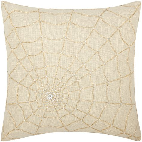 """Gold Beaded Spider Web 18"""" x 18"""" Decorative Pillow By Nourison"""
